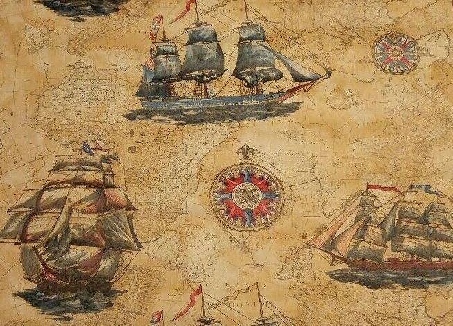 Vintage wallpaper with large sailing ships superimposed on old maps